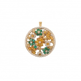 Yellow Gold Diamond and Multi-Gem Floral Pendant/Brooch